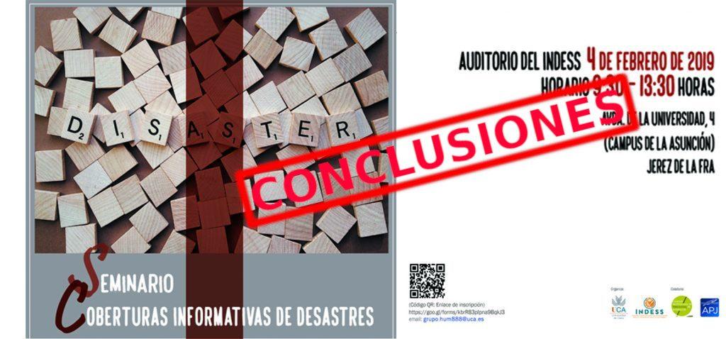 Conclusiones Seminario 'Cobertura informativa de desastres'