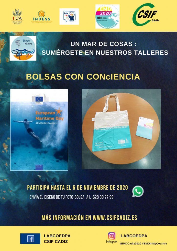 IMG El Instituto Universitario de Investigación y Desarrollo Social Sostenible (INDESS) pone en marcha el proyecto 'Un mar de cosas, sumérgete en nuestros talleres' desarrollando la iniciativa 'Bolsas ConCiencia para celebrar la efeméride del Día Mundial de la Concienciación de los Tusunamis